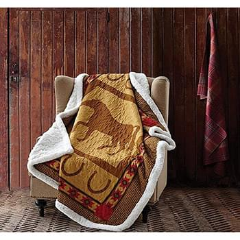 Horse and Horseshoe Quilted Sherpa Throw
