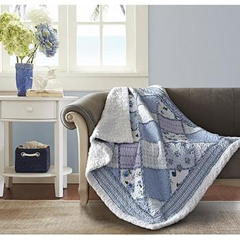 Garden of Blues Quilted Sherpa Throw