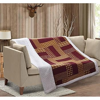 Homestead Red Patchwork Quilted Sherpa Throw