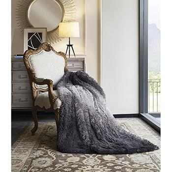 Black Ombre Faux Fur Luxury Plush Throw with Micro Suede Backing