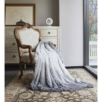 Grey Ombre Faux Fur Luxury Plush Throw with Micro Suede Backing