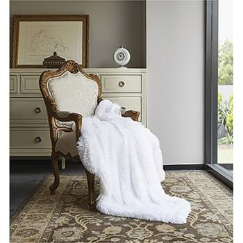 Pure White Ombre Faux Fur Luxury Plush Throw with Micro Suede Backing