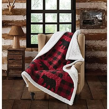 Buffalo Plaid Red Primitive Quilted Sherpa Throw