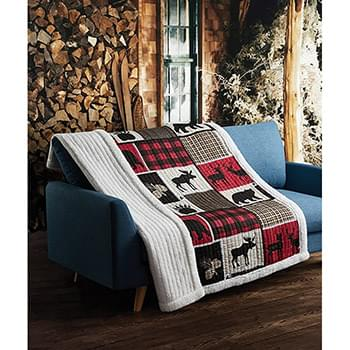 Lodge Life Primitive Quilted Sherpa Throw