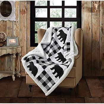 Buffalo Plaid Black Primitive Quilted Sherpa Throw