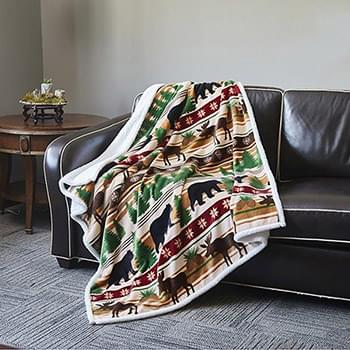 Christmas Wilderness  Flannel Sherpa Throw