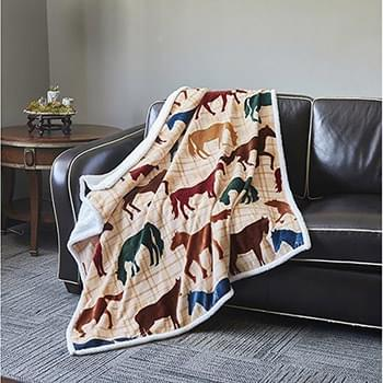 Horse  Flannel Sherpa Throw