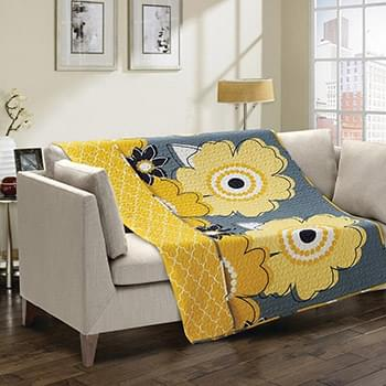 Francesca Yellow/Gray Quilted Throw
