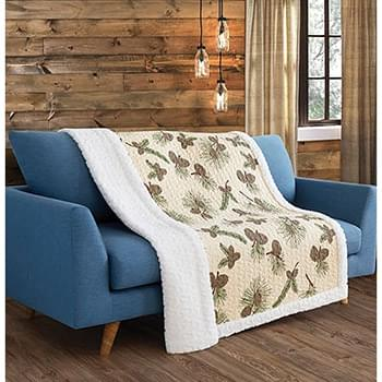 Forest Pines Primitive Quilted Sherpa Throw
