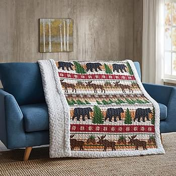Christmas Wilderness Primitive Quilted Sherpa Throw