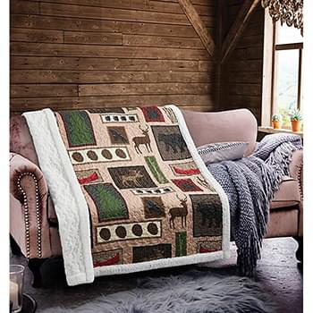Lake Living Primitive Quilted Sherpa Throw
