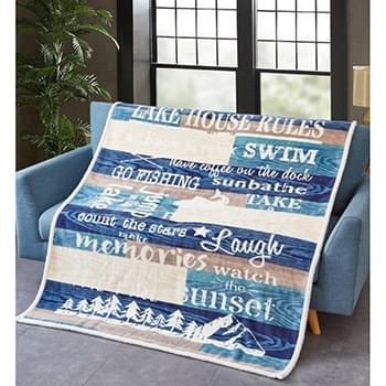 Lake House Rules Blue Flannel Sherpa Throw