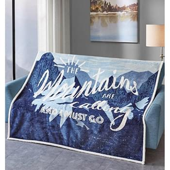 Mountain Calling Blue Flannel Sherpa Throw