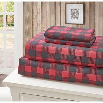Buffalo Plaid Red Black King Size Printed Sheet Set