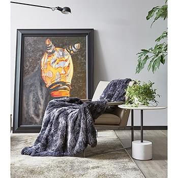 Tie Dye Black Ombre Faux Fur Luxury Plush Throw with Micro Suede Backing