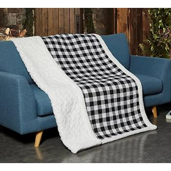 Black & White Plaid Quilted Sherpa Throw