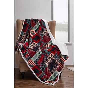 Mountain Christmas  Flannel Sherpa Throw