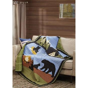 Bear Lake Primitive Quilted Throw