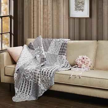 Charming Grays Quilted Throw