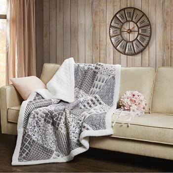 Charming Grays Quilted Sherpa Throw