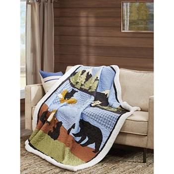 Bear Lake Quilted Sherpa Throw