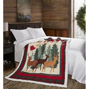 Christmas Deer Quilted Sherpa Throw
