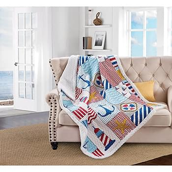 Anchors Away Quilted Sherpa Throw