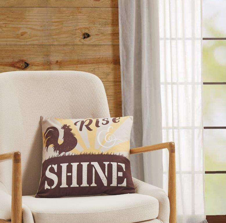 Rise Shine Rooster  Accent Pillow