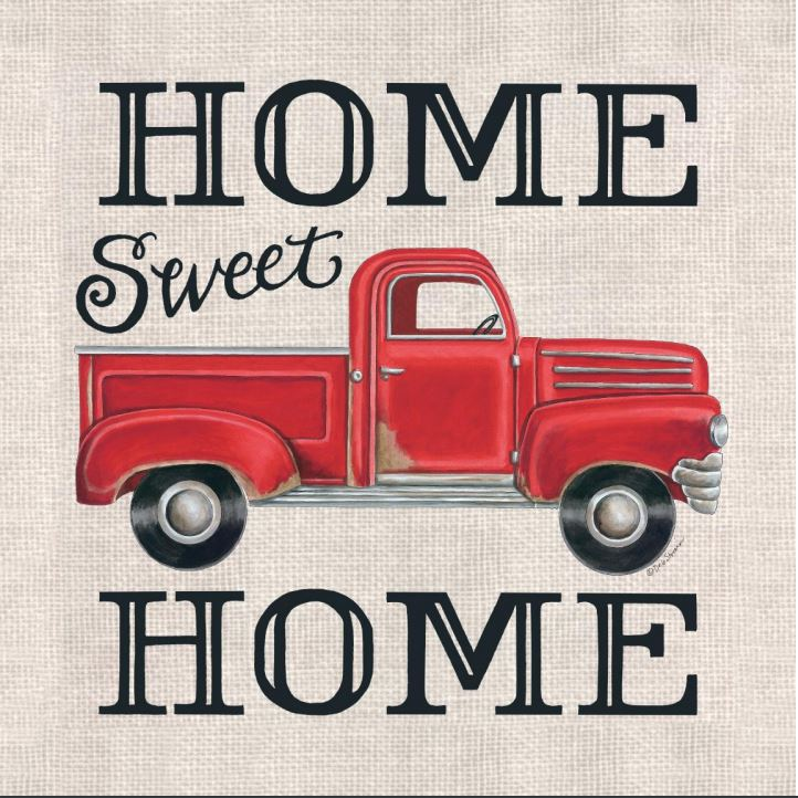 Red Truck - Home Sweet Home Accent Pillow