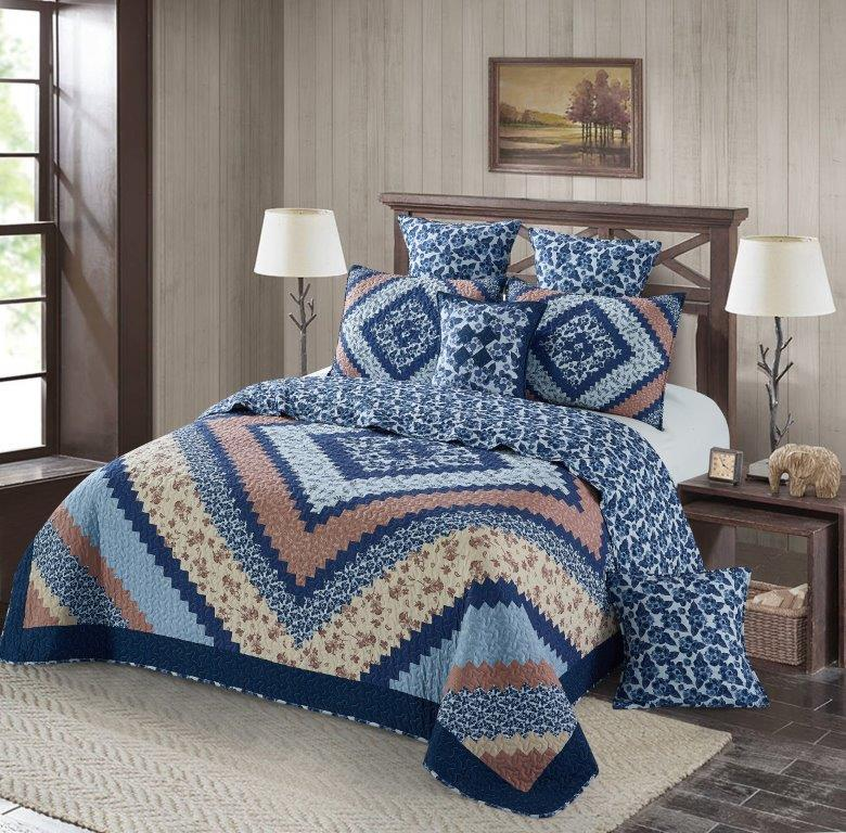 Around the Block - Blue Printed Quilt Set