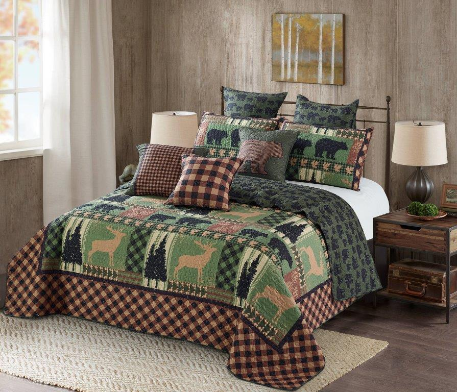 Autumn Forest - Green Printed Quilt Set