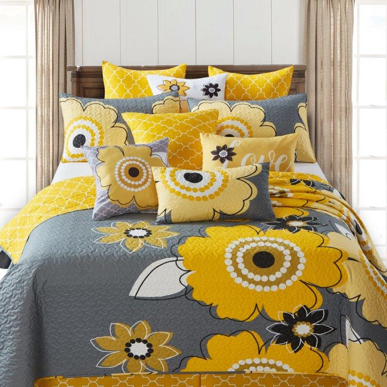 Francesca: Yellow/Gray Printed Quilt Set