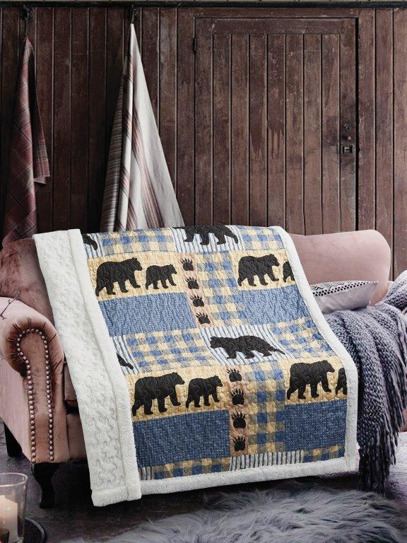 Black Bear Plaid Primitive Quilted Sherpa Throw