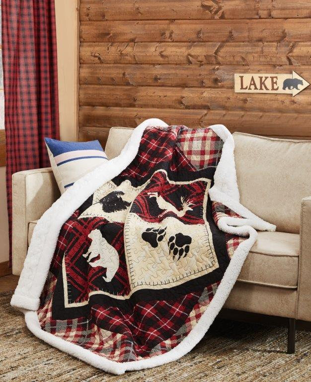 Diamond Bear Quilted Sherpa Throw