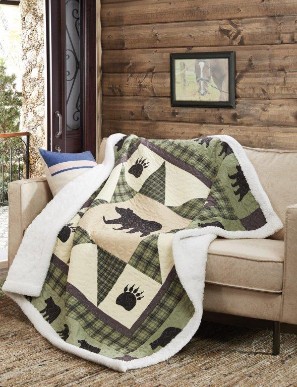 Bear Star Quilted Sherpa Throw