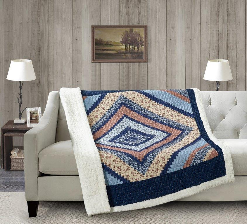 Around the Block - Blue Quilted Sherpa Throw