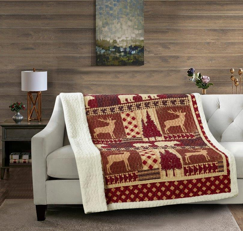 Autumn Forest - Burgundy Quilted Sherpa Throw