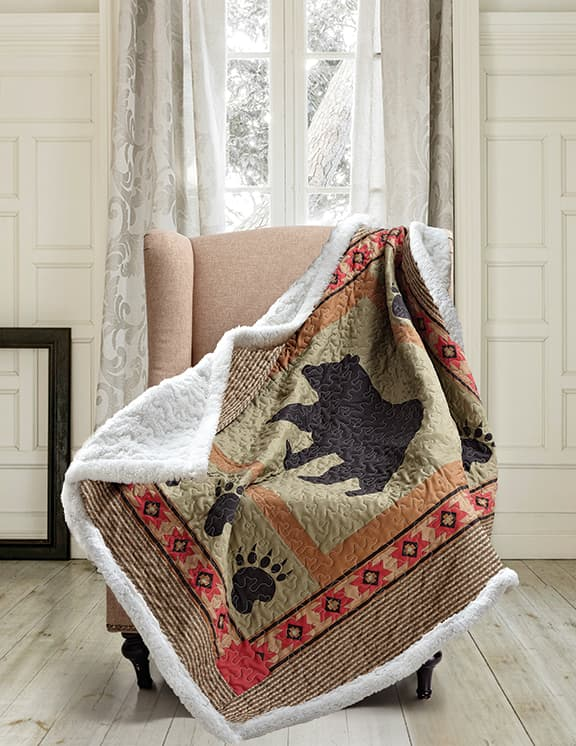 Bear and Paw Patchwork Quilted Sherpa Throw