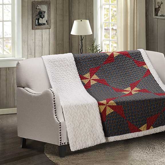 In the Country - Blue Patchwork Quilted Sherpa Throw
