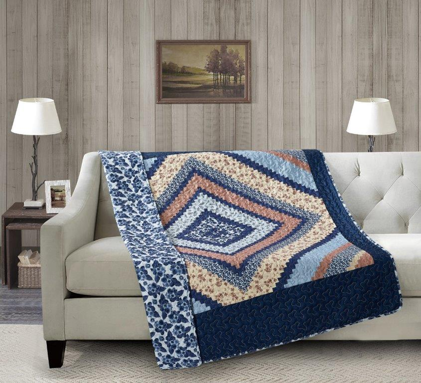 Around the Block - Blue Quilted Throw