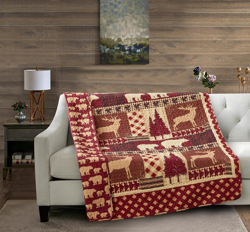 Autumn Forest - Burgundy Quilted Throw