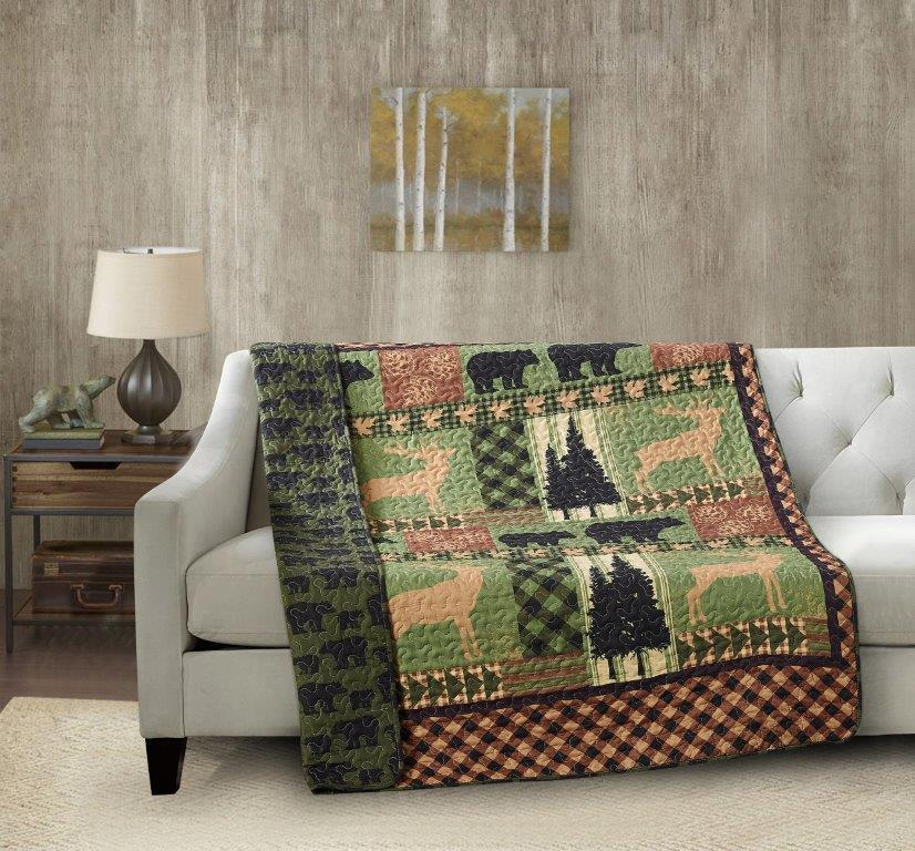 Autumn Forest - Green Quilted Throw