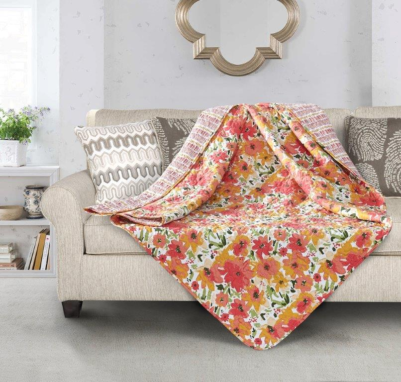 Coral Crush - Quilted Throw