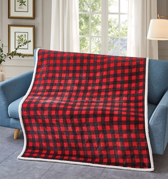 Red And Black Plaid  Flannel Sherpa Throw