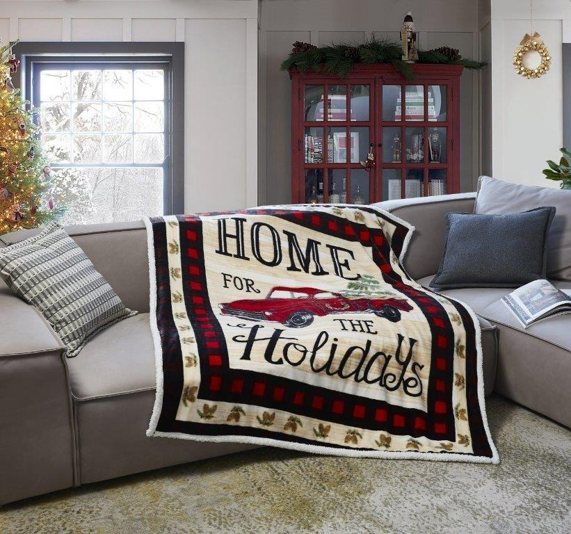 Red Truck Holiday Home Sweet Home Flannel Sherpa Throw