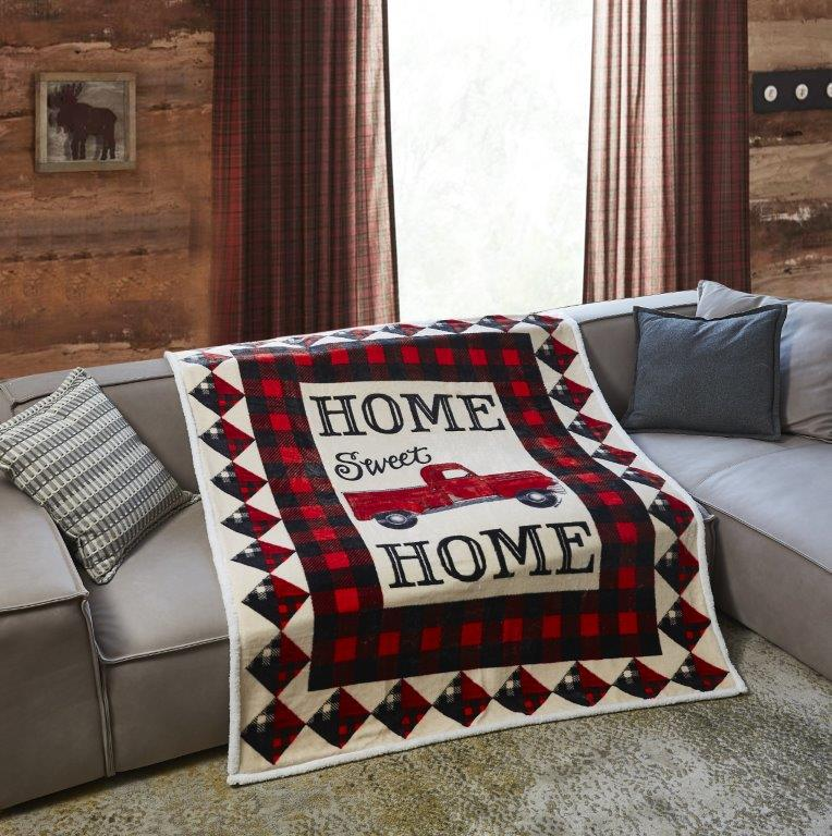 Red Truck Home Sweet Home  Flannel Sherpa Throw