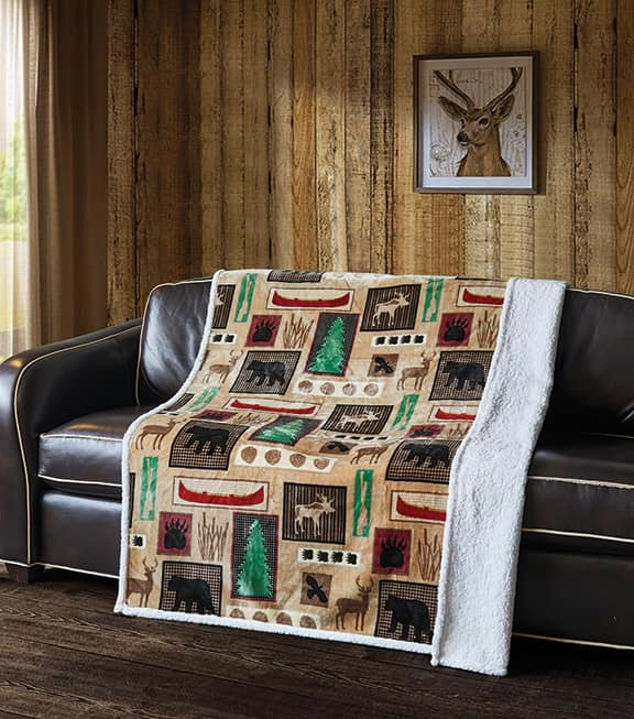 Lake Living  Flannel Sherpa Throw